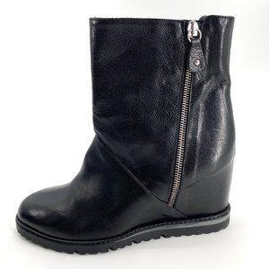 Napoleoni Black Leather Wedge Zipper 9 Boots
